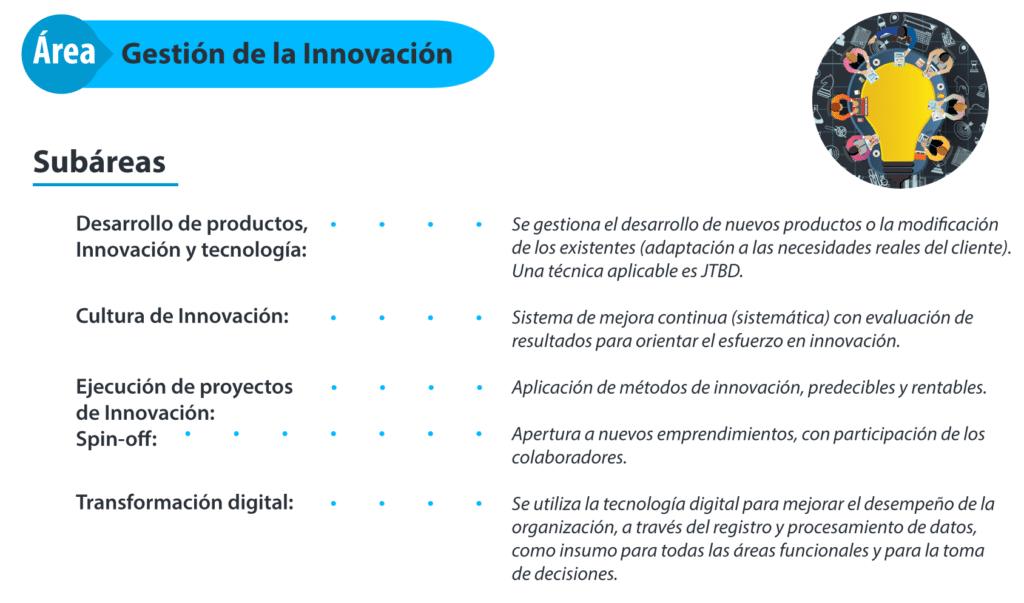 Área funcional en empresas maduras: gestión de la innovación.